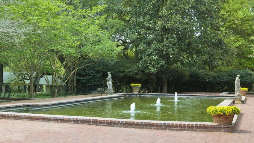 A pool and fountains at the Hopeland Gardens in Aiken, South Carolina.