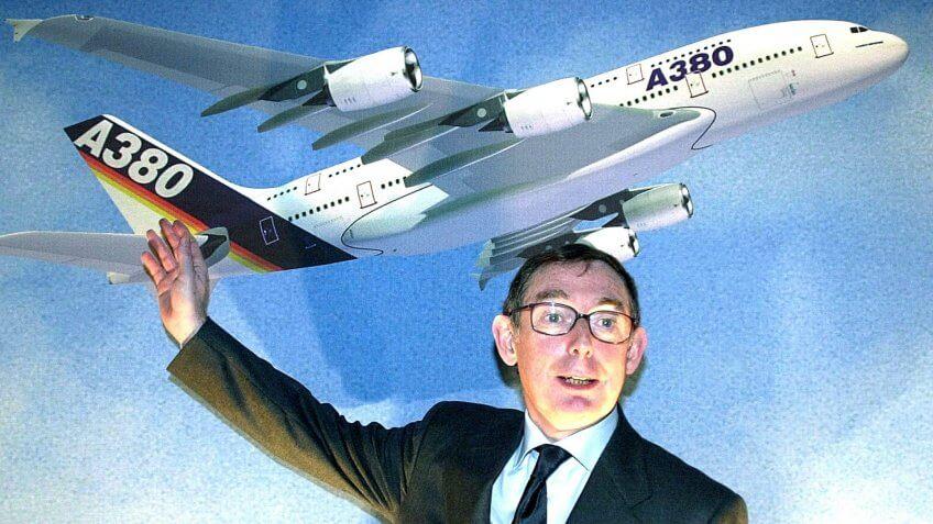 Airbus chairman Noel Forgeard shows Airbus A380