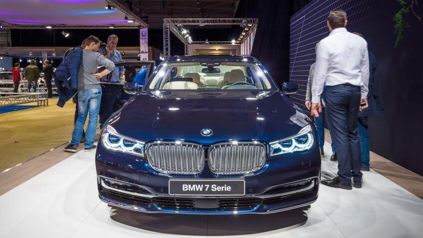MAASTRICHT, NETHERLANDS - JANUARY 14, 2016: Full-size luxury car BMW 750i xDrive Sedan.