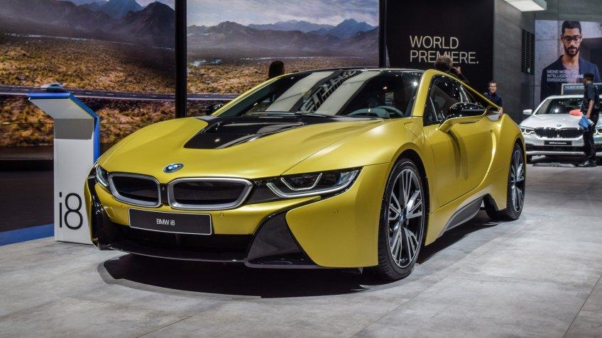 FRANKFURT - SEPTEMBER 12, 2017: BMW i8 is on display at 67th IAA, Frankfurt.