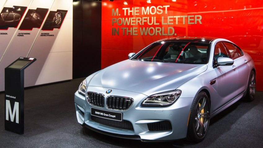 DETROIT, MI/USA - JANUARY 9, 2017: A 2017 BMW M6 Gran Coupe car at the North American International Auto Show (NAIAS).