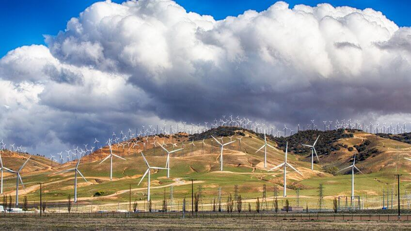 Wind Turbines line the hillsides outside Bakersfield, California.