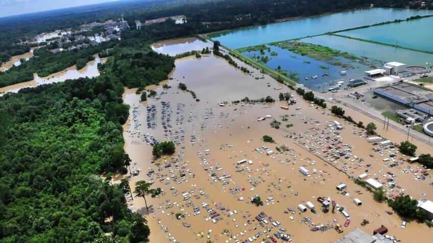 An view from an MH-65 Dolphin helicopter shows flooding and devastation in Baton Rouge, La.