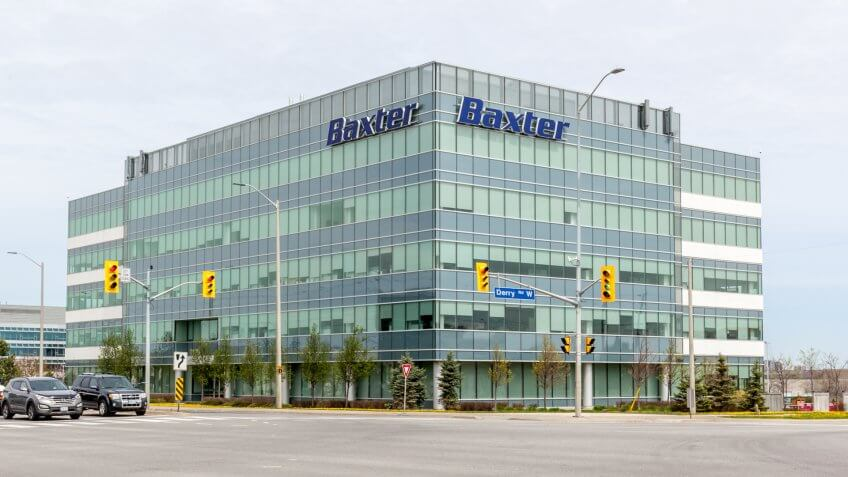Mississauga, Ontario, Canada- May 12, 2018: Baxter sign on the building in Mississauga, Ontario.