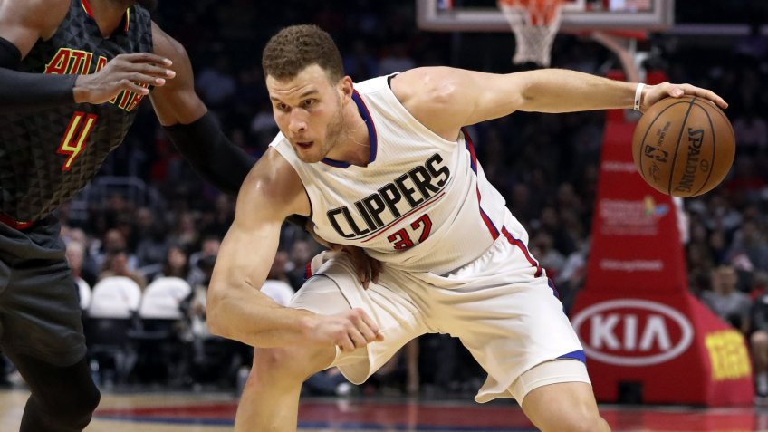 Mandatory Credit: Photo by Paul Buck/EPA/Shutterstock (8389159h)Blake Griffin and Paul MillsapAtlanta Hawks at Los Angeles Clippers, USA - 15 Feb 2017Los Angeles Clippers Blake Griffin (R) works against Atlanta Hawks Paul Millsap (L) in second half action of their NBA basketball game in Los Angeles, California, USA, 15 February 2017.