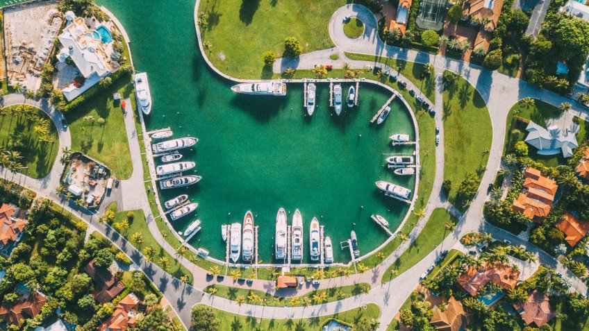 Boatyard aerial view in Miami Florida
