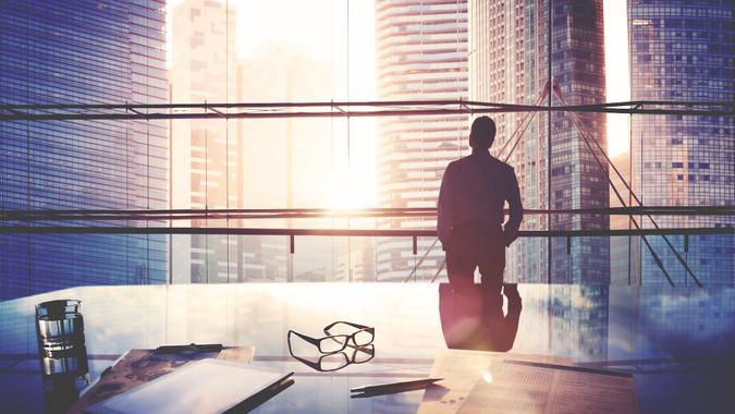City Scape Businessman Leader Thinking Concept.