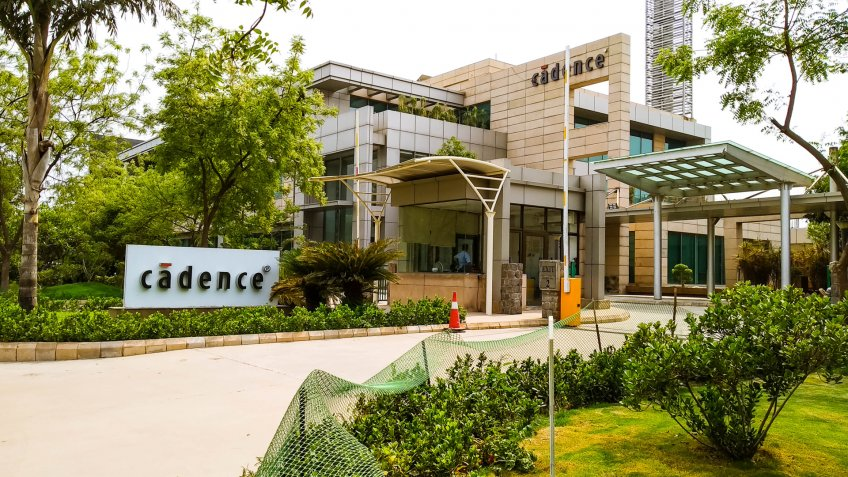 New Delhi, India - April 25, 2019 - Entrance to Cadence Design Systems corporate office in Noida Special Economic Zone, India - Image.