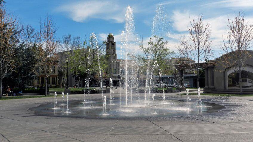 Chico California downtown fountain.