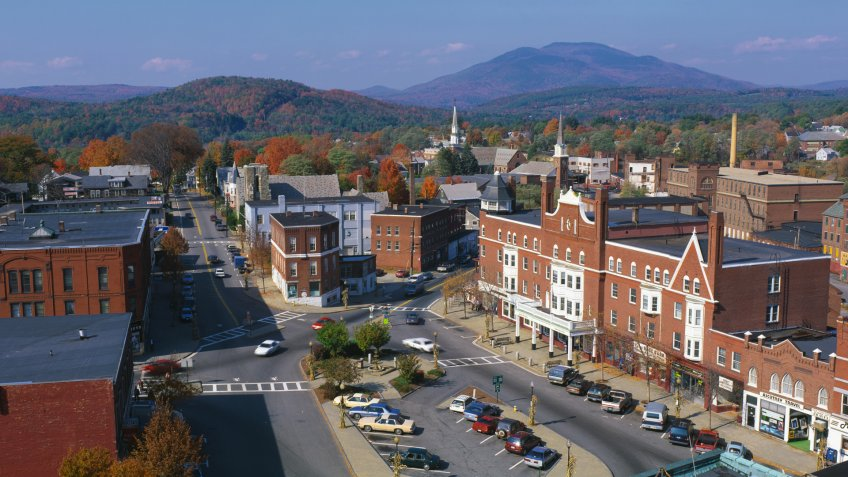 This is a panorama view of Claremont, New Hampshire, New England.