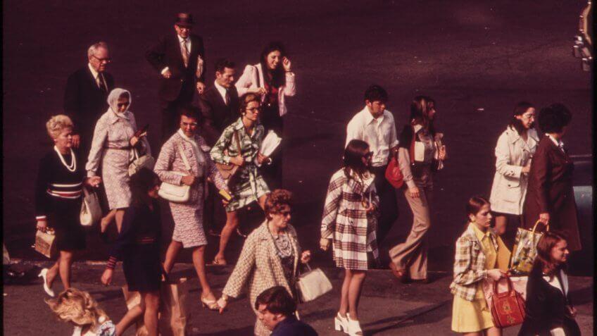 Commuters walking to Staten Island Ferry entrance