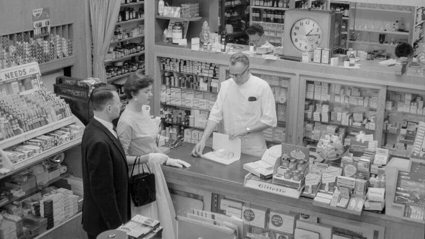 Drug Store Prescription Counter in the 1950s
