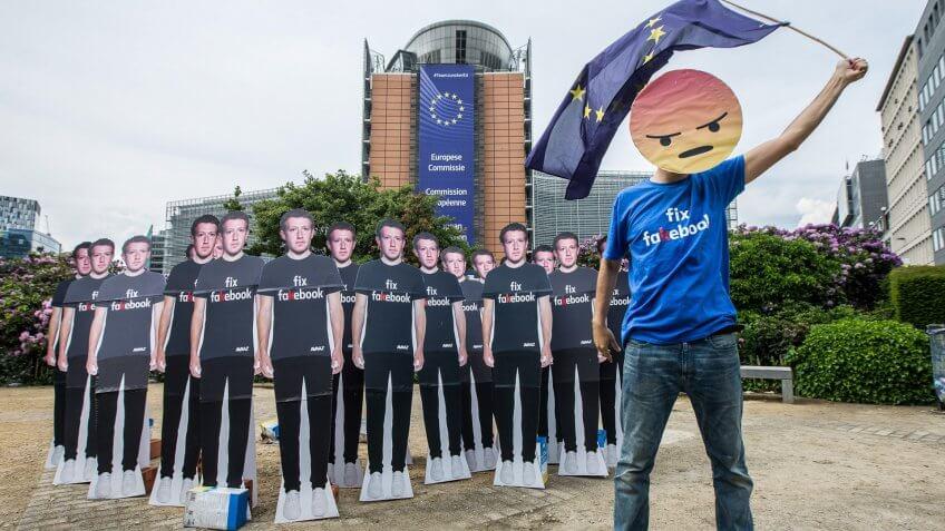 Facebook data breach protest in Brussels Belgium after Cambridge Analytica data breach