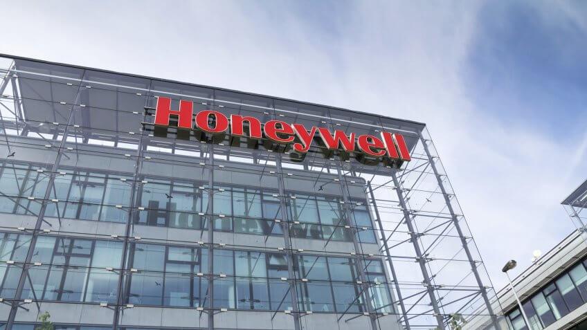 PRAGUE, CZECH REPUBLIC - MAY 22: Honeywell company logo on headquarters building on May 22, 2017 in Prague, Czech republic.