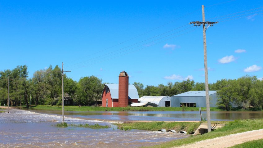A shot of flood water north of Hutchinson Kansas USA out in the country.