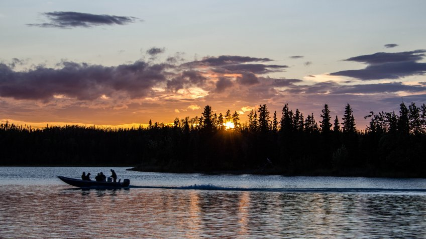 Sunset fishing, Kenai River, Alaska - Image.