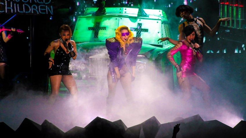 MILAN - DECEMBER 04: Singer Lady Gaga during the first concert in Milan on December 4, 2010 in Assago, Milan, Italy.