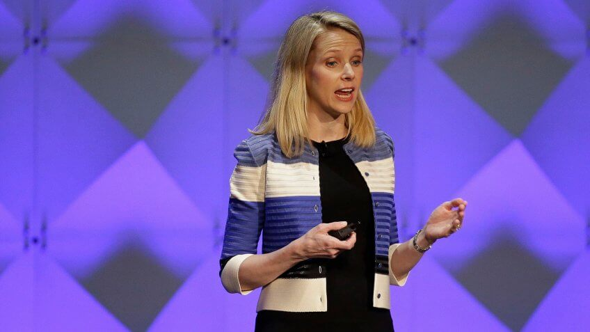 Mandatory Credit: Photo by Eric Risberg/AP/Shutterstock (6078144a)Marissa Mayer Yahoo CEO Marissa Mayer delivers the keynote address at the Yahoo Mobile Developer Conference in San Francisco.