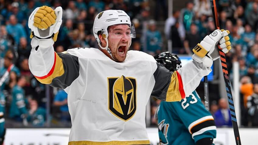 Mandatory Credit: Photo by Chris Brown/CSM/Shutterstock (10217296n)Vegas Golden Knights forward Mark Stone (61) celebrates the Vegas Golden Knights goal to tie the game and send it to overtime during game seven of the first round of the the Stanley Cup playoffs between the Vegas Golden Knights and the San Jose Sharks at SAP Center in San Jose, CaliforniaNHL Golden Knights vs Sharks, San Jose, USA - 23 Apr 2019.