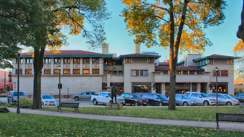 Mason City, Iowa - 10/16/2015: City National Bank Building, and Park Inn Hotel.
