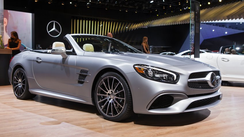 DETROIT - JANUARY 12: The 2016 Mercedes SL550 on display at the North American International Auto Show media preview January 12, 2016 in Detroit, Michigan.