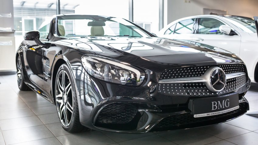 GDANSK, POLAND - JANUARY 30, 2017: Brand new 2017 model of Mercedes SL63 AMG cabrio in the car showroom of Gdansk, Poland.