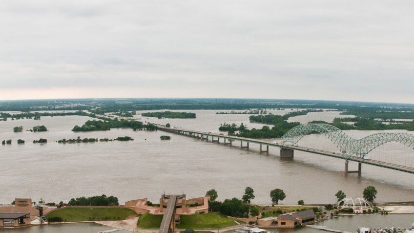 Aerial view a few days before the floodwaters crested in Arkansas and Tennessee, three days prior to Saturday, May 14.