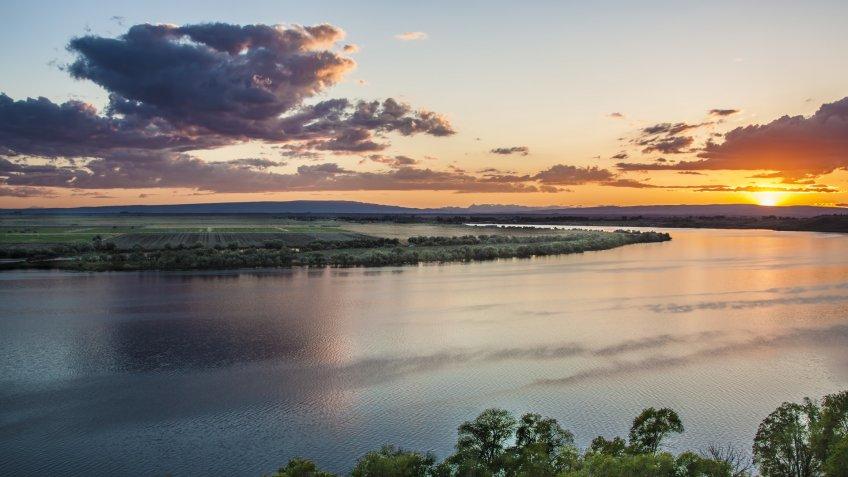 sunset over Moses Lake in state Washington - Image