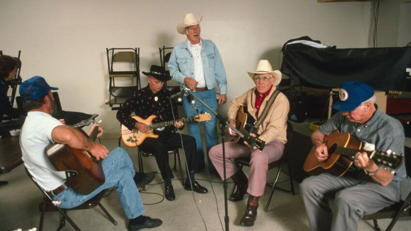 Musicians jamming in 1995