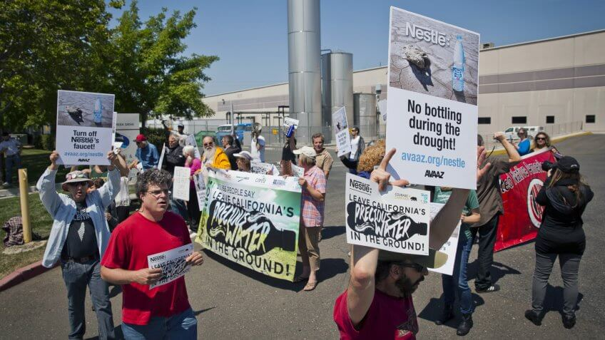 Nestle water bottling plant protest during drought