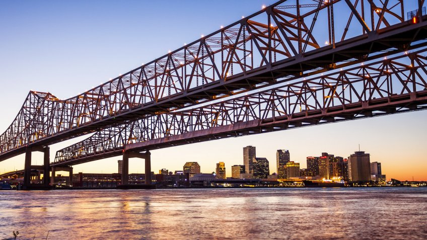 New Orleans Louisiana at sunet with Bridge