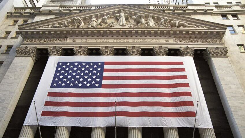 New York Stock Exchange with America flag