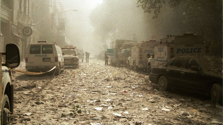 New York streets on September 11th-2001 with debris