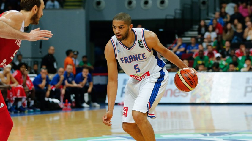 Mandatory Credit: Photo by Mark R Cristino/EPA/Shutterstock (8424217cm)Nicolas Batum (r) of France in Action Against Semih Erden (l) of Turkey During the 2016 Fiba Olympic Qualifying Tournament Semi Final Match Between France and Turkey and France at the Sm Mall of Asia Arena in Pasay City South of Manila Philippines 09 July 2016 Philippines ManilaPhilippines Basketball Fiba Olympic Qualifying Tournament - Jul 2016.