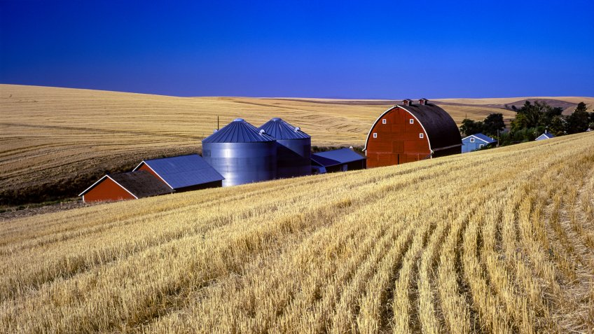 red barn and silos in harvested wheat field near Pendleton, Oregon.