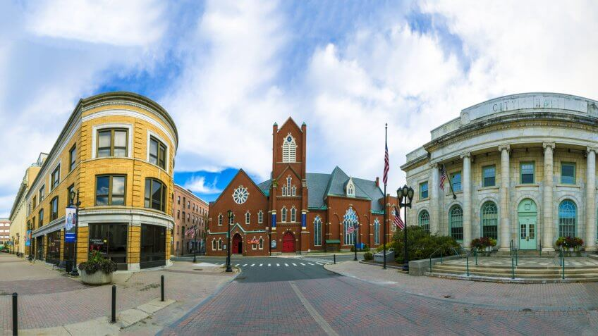 PITTSFIELD, MA USA - SEP 22, 2017: view of historic building, city hall and methodist church in Pittsfield.