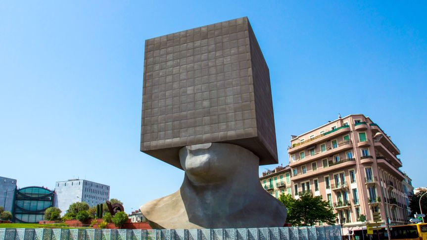 NICE, FRANCE - MAY 2: Square Head - building cube shaped as human head sculpture on May 2, 2013 in Nice, France.