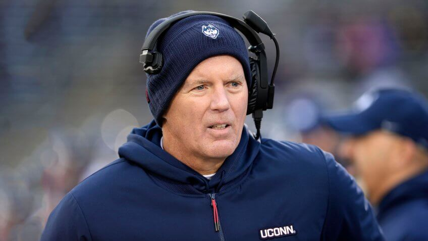 Connecticut head coach Randy Edsall works the sideline during the first half of an NCAA college football game against Temple, in East Hartford, Conn