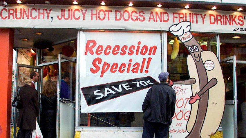 Recession Special sign at Gray's Papaya hot dog stand in New York