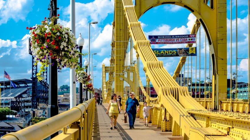 Pittsburgh, Pennsylvania, United States - July 31, 2016: Pedestrians crossing the Roberto Clemente Bridge on a beautiful summer day.