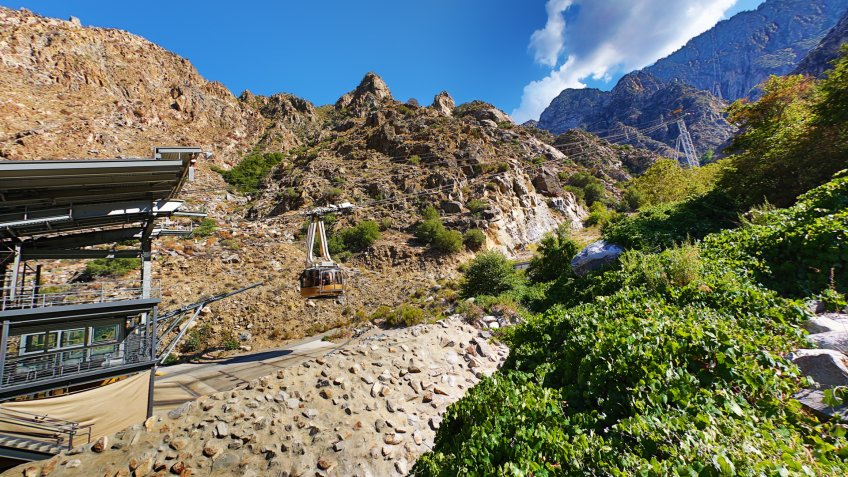 This is an HDR photo of the tram headed to the peak of San Jacinto in Southern California.