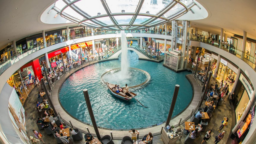 SINGAPORE - JUNE 6, 2015 : The Shoppes at Marina Bay Sands is one of Singapore's largest luxury shopping malls, with over 800,000 square feet of high-end retail shoppes.