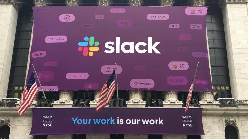 Slack new logo at New York Stock Exchange