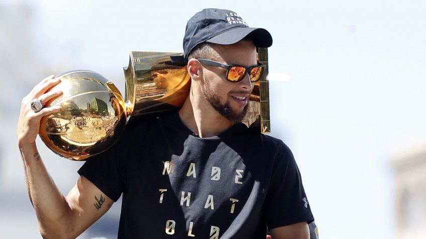 Steph Curry holding NBA Larry O'Brien Championship Trophy in 2017