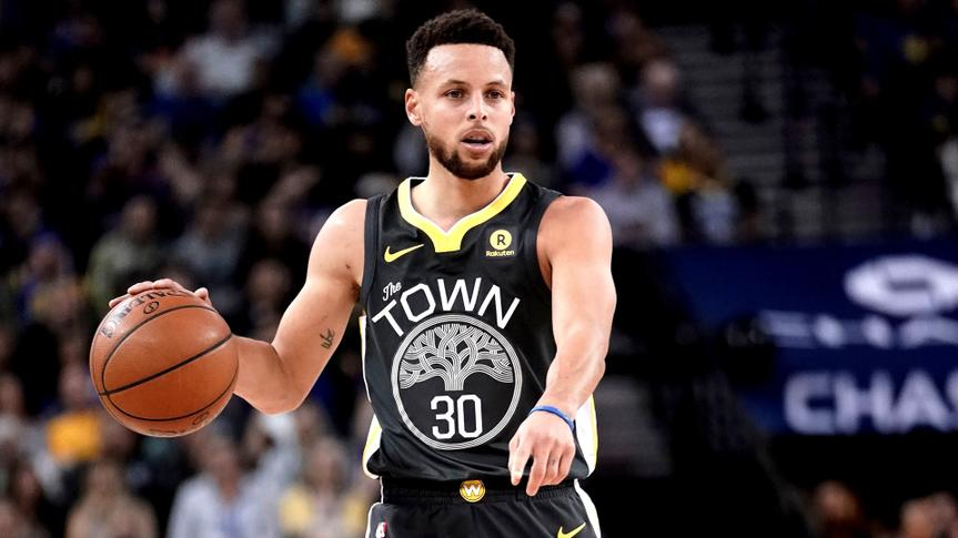 Mandatory Credit: Photo by John G Mabanglo/EPA-EFE/Shutterstock (9373398h)Stephen CurrySan Antonio Spurs at Golden State Warriors, Oakland, USA - 10 Feb 2018Golden State Warriors guard Stephen Curry sets up for a play against the San Antonio Spurs during the first half of their NBA game at Oracle Arena in Oakland, California, USA, 10 February 2018.