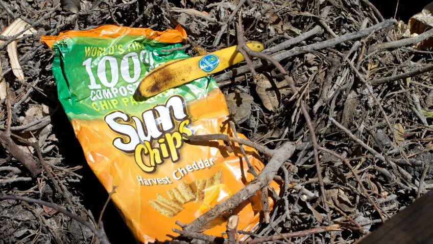 The packaging on Sun Chips claims their bags are biodegradable, so I'm giving it a test in my compost bin.