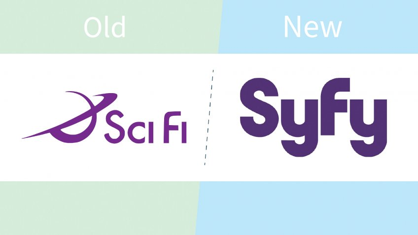 SyFy logo before and after