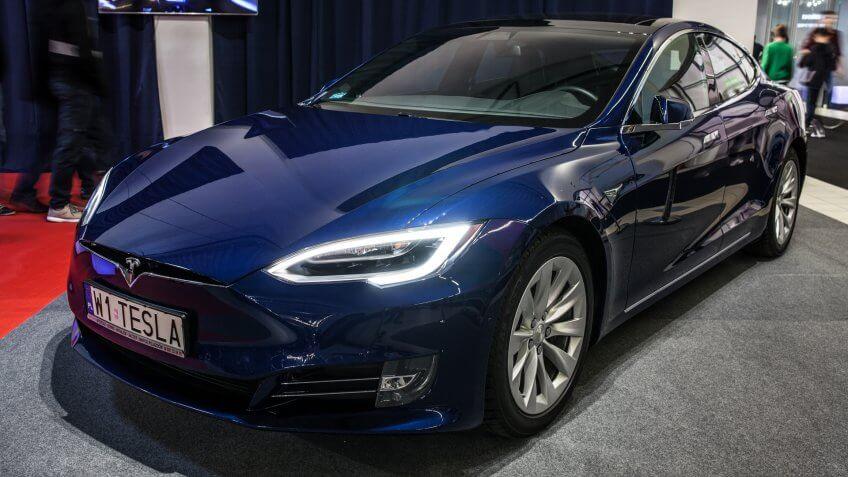 Nadarzyn, Poland, October 27, 2017: metallic blue Tesla Model S 75D at Warsaw Moto Show, produced by American automaker Tesla, main shareholder Elon Musk - Image.