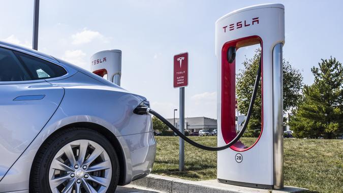 Lafayette - Circa September 2017: Tesla Supercharger Station.