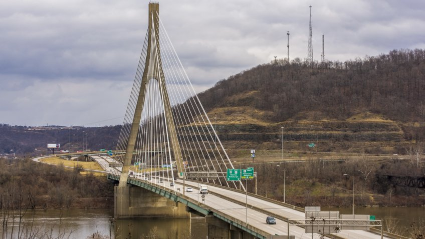 A view of the Veterans Memorial Bridge, a cable-stayed suspension that carries US 22 over the Ohio River between Weirton, West Virginia and Steubenville, Ohio.
